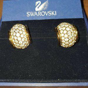 SWAROVSKI Gold tone Clear Crystal Post Hoops